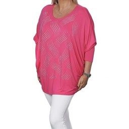 Malissa J Diamante Wave Batwing Top - Pink