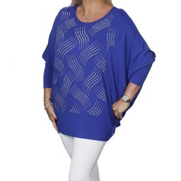 Malissa J Diamante Wave Batwing Top - Royal