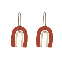 Lucy Cobb Jared Ark Two Tone Earrings in Coral