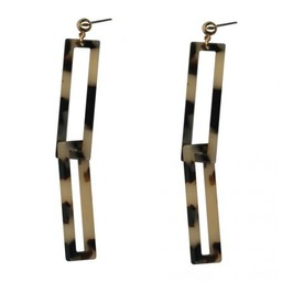 LC Jewellery Lea Elongated Rectangle Earrings - Brown