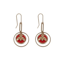 LC Jewellery Dahila Honeybee Drop Earrings - Red