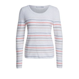 Oui Fine Knit Striped Jumper - Stone