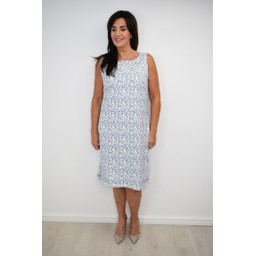 Alice Collins Helen Jersey Dress - Dusky Indigo Print