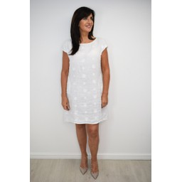 Lucy Cobb Circle Linen Dress in White