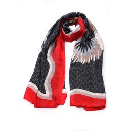 Malissa J Border Design Scarf - Red