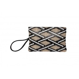 Malissa J Zip Fabric Wallet - Black & White