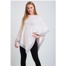 Lucy Cobb Colour Border Poncho - Baby Pink