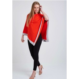 Lucy Cobb Colour Border Poncho - Orange