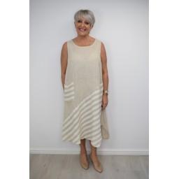 Lucy Cobb Block Stripe Linen Dress - Stone