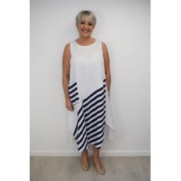 Lucy Cobb Block Stripe Linen Dress - White