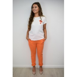 Lucy Cobb Ribbed Tie Waist Jogger - Orange