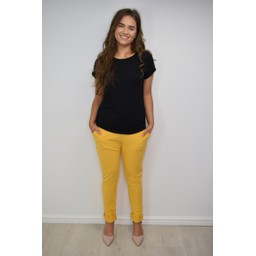 Lucy Cobb Ribbed Tie Waist Jogger - Mustard