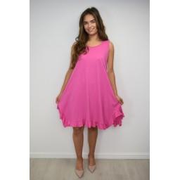 Lucy Cobb Tess Frill Hem T Shirt Dress in Fuchsia