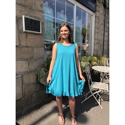 Lucy Cobb Tess Frill Hem T Shirt Dress in Turquoise