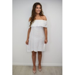 Lucy Cobb Era Frill Linen Dress in White