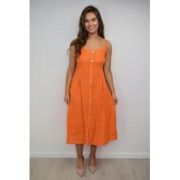 Lucy Cobb Anya Linen Button Dress in Orange