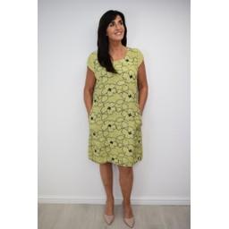Lucy Cobb Embellished Floral Linen Dress - Lime