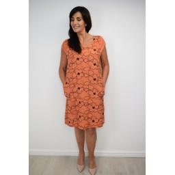 Lucy Cobb Embellished Floral Linen Dress - Orange
