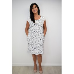 Lucy Cobb Embellished Floral Linen Dress - White