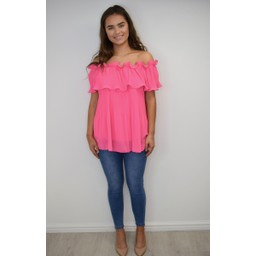 Lucy Cobb Bonnie Bardot Frill Top in Fuchsia