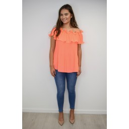 Lucy Cobb Bonnie Bardot Frill Top - Orange
