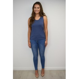Alice Collins Plain Vest Top - Indigo