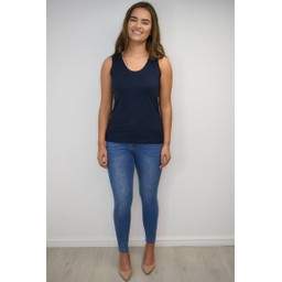 Alice Collins Plain Vest Top - Navy