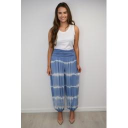 Lucy Cobb Tabbi Tie Dye Hareem Trousers in Denim