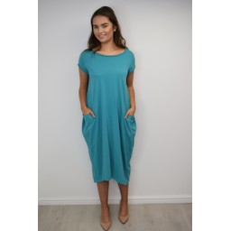 Lucy Cobb Taylor T Shirt Dress in Teal