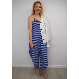 Lucy Cobb Stella Striped Hareem Jumpsuit - Royal Stripe