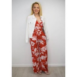 Lucy Cobb Floral Chiffon Jumpsuit - Red