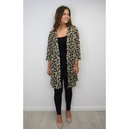 Lucy Cobb Lois Leopard Longline Cardigan - Leopard Print