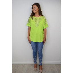 Lucy Cobb Deena Diamante Oversized Top - Lime Green