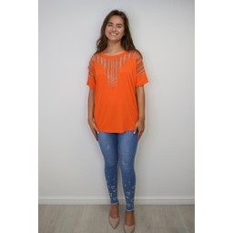 Lucy Cobb Deena Diamante Oversized Top - Orange