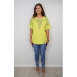 Lucy Cobb Deena Diamante Oversized Top - Yellow