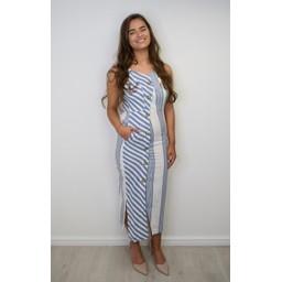 Lucy Cobb Stella Striped Maxi - Blue