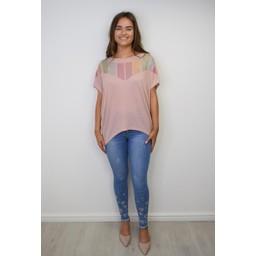 Lucy Cobb Diamante Chevron Top  - Pink