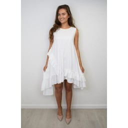 Lucy Cobb Elle Frill Dress in White