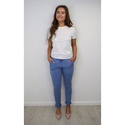 Lucy Cobb Tie Waist Joggers in Light Blue