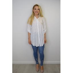 Lucy Cobb Embroidery Shirt - White