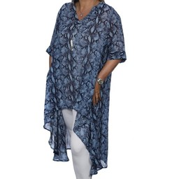 Malissa J Chiffon Animal Print Dipped Hem Tunic in Blue Snake Print