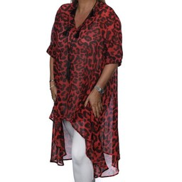 Malissa J Chiffon Animal Print Dipped Hem Tunic - Red Leopard Print