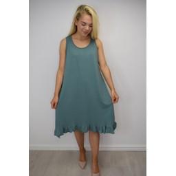Lucy Cobb Tess Frill Hem T Shirt Dress in Sage