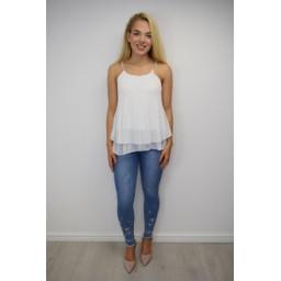 Lucy Cobb  Devan Diamante Strap Vest - White
