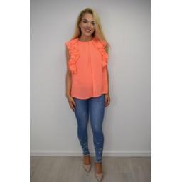 Lucy Cobb Fallon Frill Sleeve Top - Orange