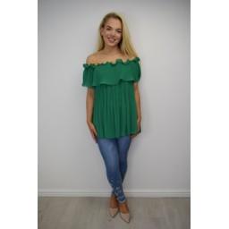 Lucy Cobb Bonnie Bardot Frill Top - Green