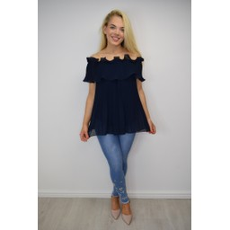 Lucy Cobb Bonnie Bardot Frill Top in Navy