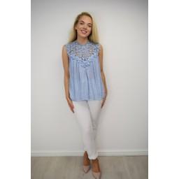 Lucy Cobb Charlotte Lace Top - Light Blue