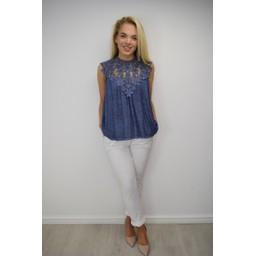 Lucy Cobb Charlotte Lace Top - Denim Blue
