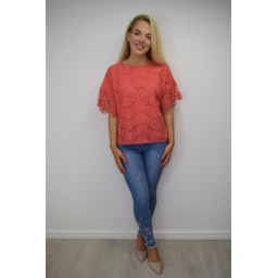 Lucy Cobb Kendal Broderie Anglaise Top - Coral